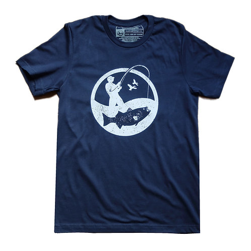 Navy blue tee with white round fisherman logo
