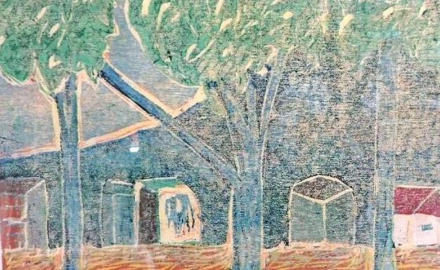 Blue trees with shacks