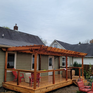 Cedar Deck and Pergola with Cable Railing