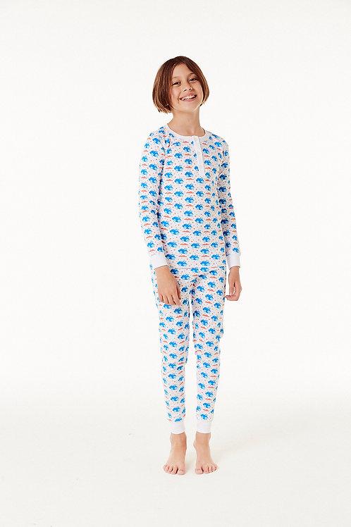 Cameron Pajama Set (Kids) - Flying Piggies Blue