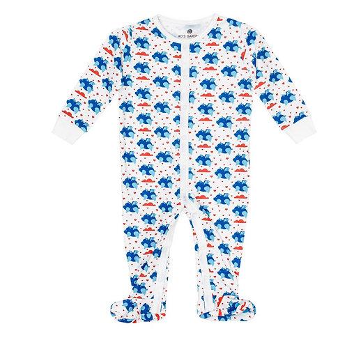 Casey Infant Pajama Suit - Flying Piggies Blue
