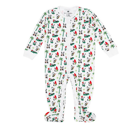 Casey Infant Pajama Suit - Aloha Panda and Bugsy Lime