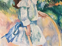 pierre-auguste Renoir impressionism reproduction acrylic painting girl and hoop