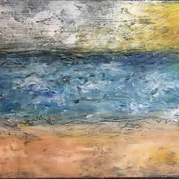 painting storm clouds ocean cold wax oil on wood impressionism