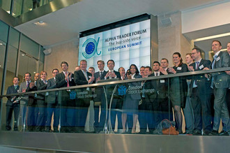 First launch of the Alpha Trader Forum Global Summit at the London Stock Exchange in 2013 opening the markets with the buyside traders.