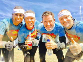 Anita with friends and husband, Kristian (far right) at Tough Mudder 2017