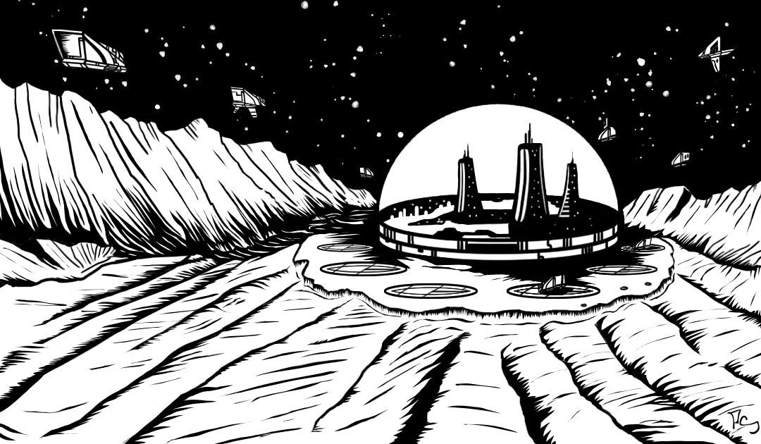 Futuristic Moon Base City