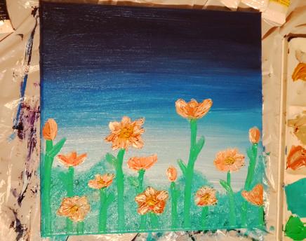 flowers in oil