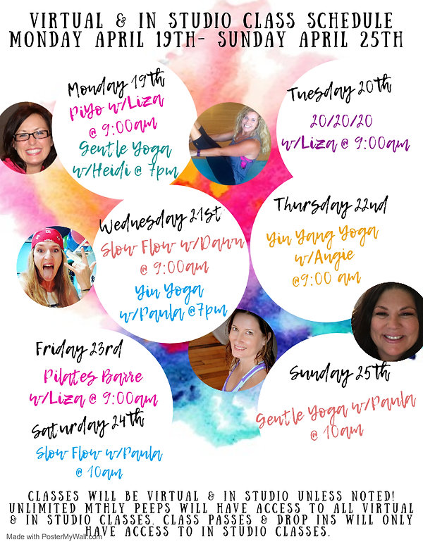 Class Schedule April19th-25th - Made wit