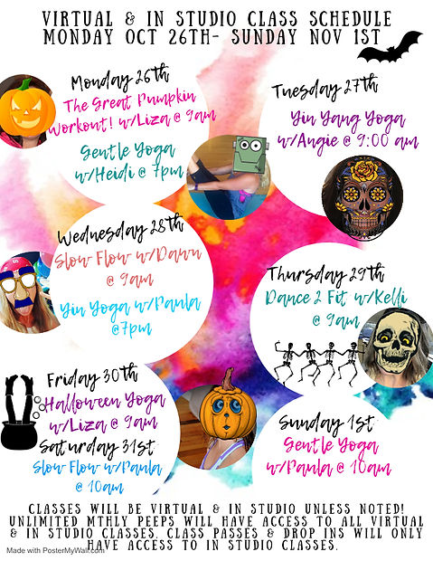 Class Schedule Oct 26th- Nov 1st - Made