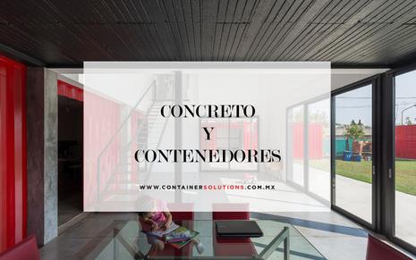 Una casa que combina contenedores y concreto.