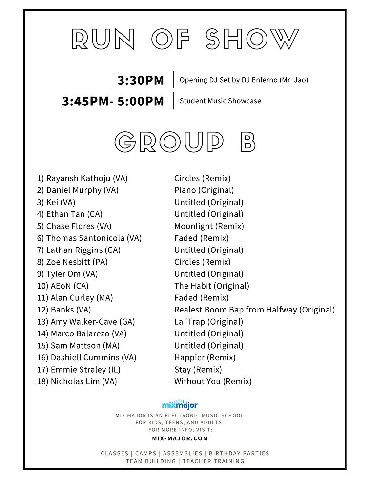 2020 Listening Party Program - Group B p