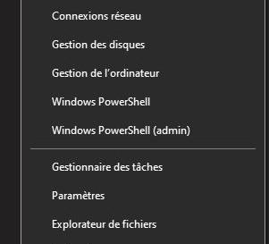 Ajouter des raccourcis de dossier dans le menu contextuel (WinX) du menu démarrer