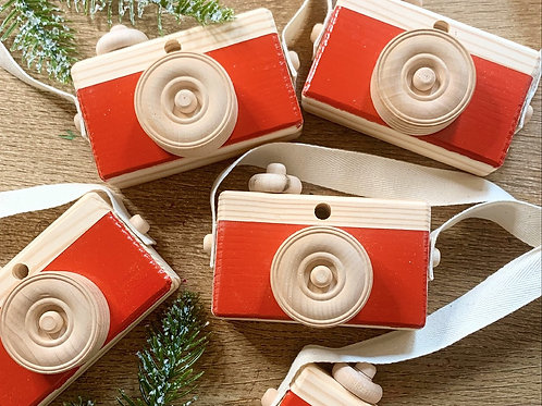 Christmas Edition Red Wooden Camera
