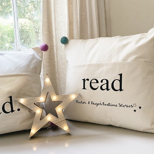Personalised cushion cover with reading pocket