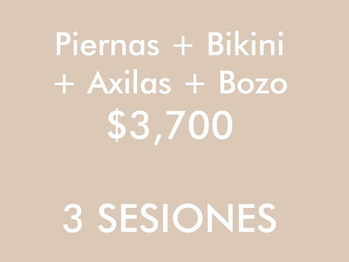 Piernas + Axilas + Bikini + Bozo (3 Sesiones)