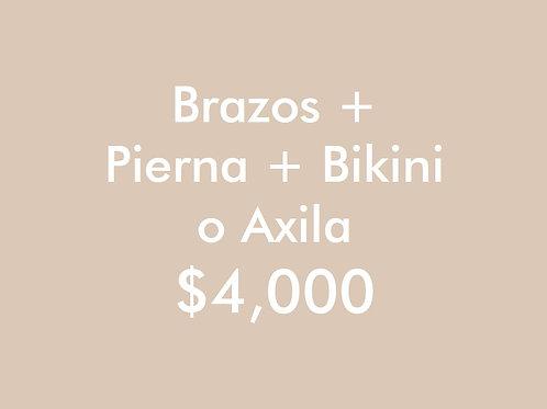 Brazos + Pierna + (Bikini o Axila) (2 Sesiones)