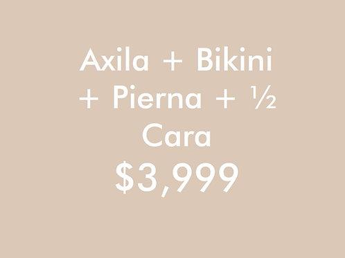 Axilas + Bikini + Pierna +1/2 Cara (2 Sesiones)