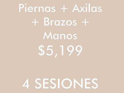 Piernas + Axilas + Brazos + Manos (4 Sesiones)