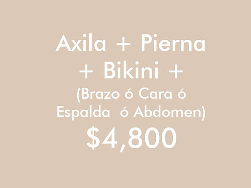 Axila + Pierna + Bikini + (Brazo ó Cara ó Espalda ó Abdomen) (2 Sesiones)