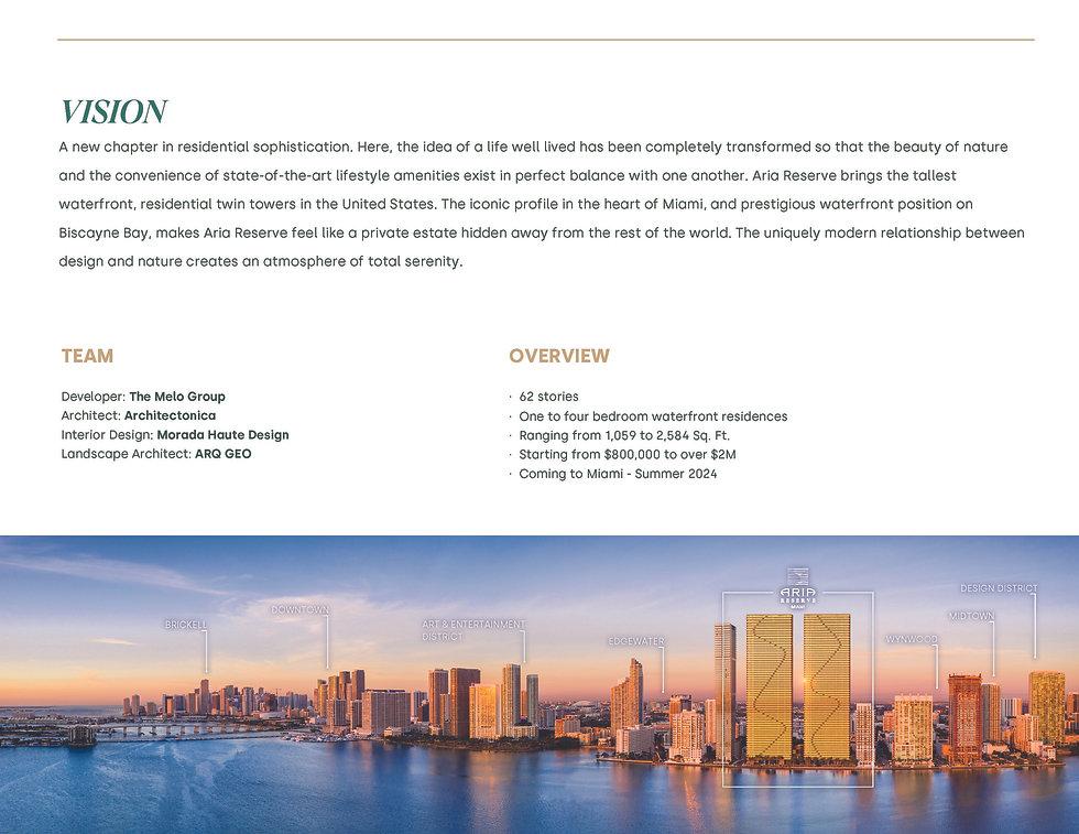 Aria Reserve Miami - Fact Sheet - Unbran