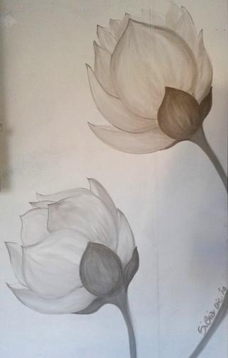 Decoro floreale monocromatico