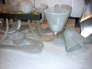 Lampadario in vetro scavo anni '30