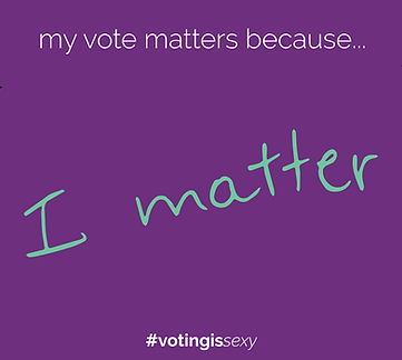 My vote matters because I matter Voting Is Sexy Instagram post where an empty design is filled by students' personal writing