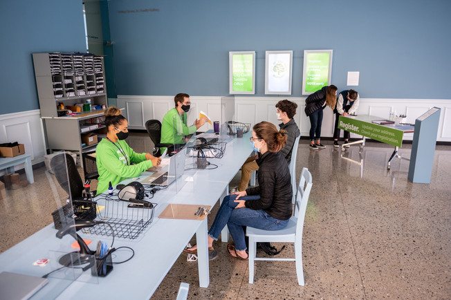 We designed the space so that the experience for voters would be straightforward and unintimidating, including clear language and a comfortable context in which to interact with the clerks.
