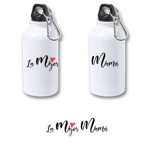 "Botella de agua de aluminio de 400 ml""La mejor mamá""."