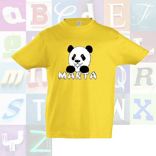 "Camiseta infantil unisex color de algodón de manga corta ""Panda con tu nombre""."