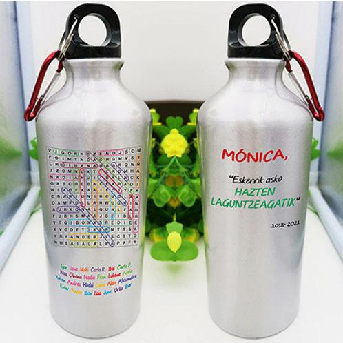 "Botella para agua fría ""Laguntzeagatik. Con sopa de letras."