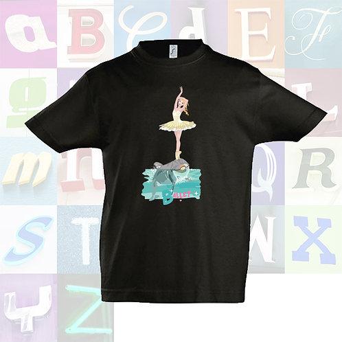 """Camiseta infantil unisex color de algodón de manga corta """"Ballet""""."""