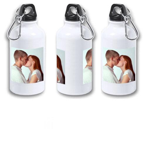 "Botella de agua fría aluminio de 400 ml ""Con tu foto o dibujo para tu pareja""."