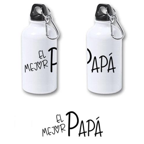 """Botella de agua de aluminio de 400 ml """"El mejor papá""""."""