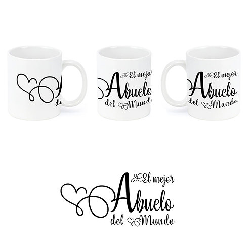 """Taza de cerámica con dedicatoria """"El mejor abuelo""""."""