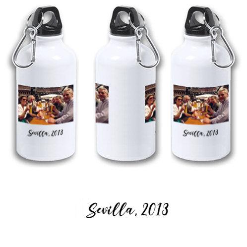 """Botella de agua fría aluminio 400 ml """"Con foto de hermanos y viaje y fecha""""."""
