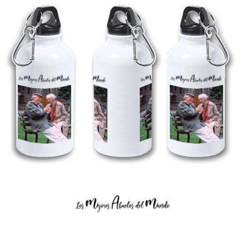 """Botella de agua fría aluminio 400 ml con su foto """"Los mejores abuelos""""."""