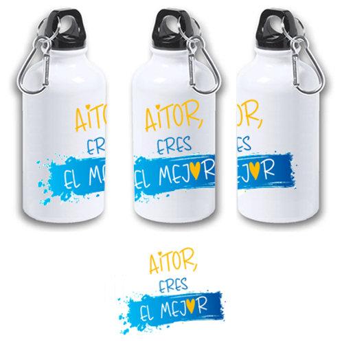 """Botella blanca de aluminio de 400 ml """"Su nombre, eres el mejor""""."""