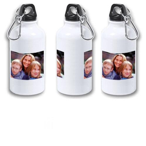 """Botella de agua fría aluminio de 400 ml """"Con tu foto o dibujo para mamá""""."""