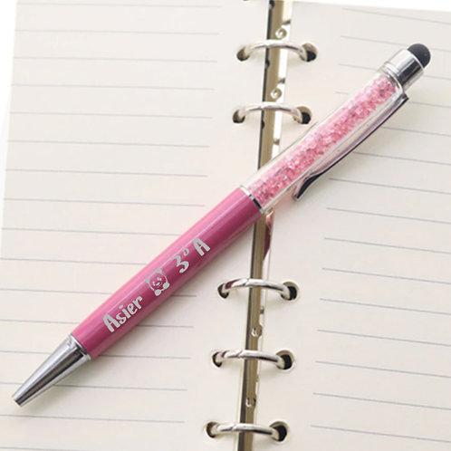 """Bolígrafo metálico """"Con su nombre y clase y dibujo panday."""