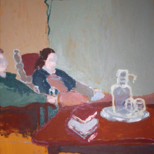 Watching TV. Acrylic on canvas, 2011.