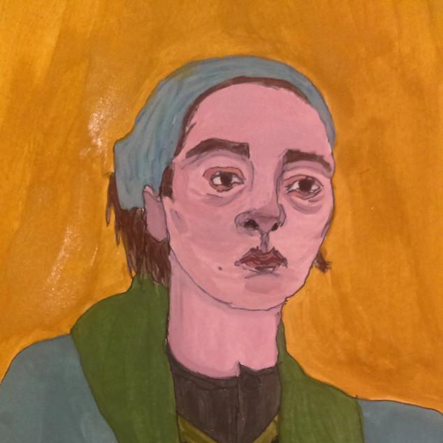 Self Portrait Feeling Tired. Gouache on paper, 2018.