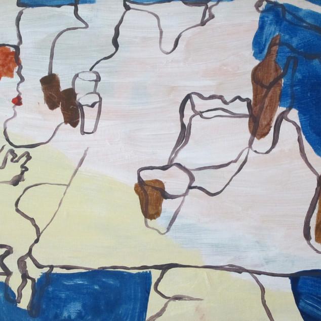 Frances Having Drinks. Acrylic on canvas, 2012.