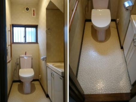 ツートンカラーを取り入れたトイレ