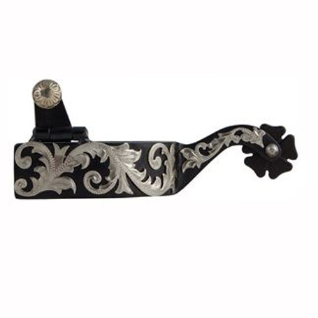 FES Black Filigree Cloverleaf Spurs Mens