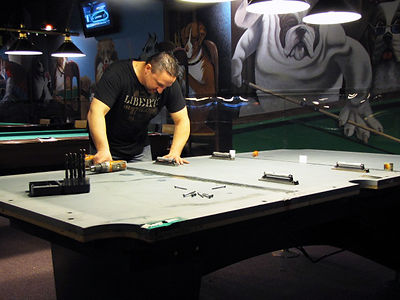 Cleaning and Repairing Slate At Pool Hall