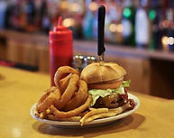 Schemengees Bar and Grille, Lewiston ME 207-777-1155 From The Grille BBQ Bacon Cheese Burger with Onion Rings