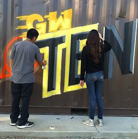 Gold West High School Tennis mural