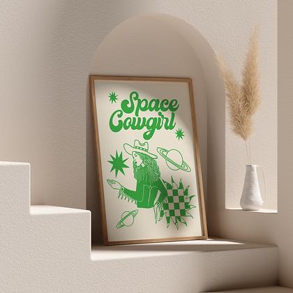 Space Cowgirl Print Retro Green